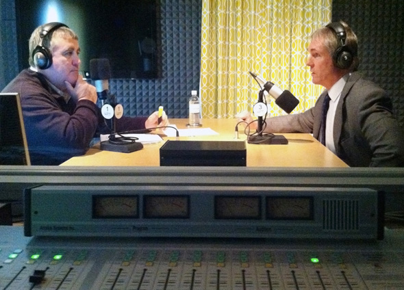 TideSmart Talk with Stevoe host Steve Woods (left), talks with Jon Hinck, a Portland state representative.