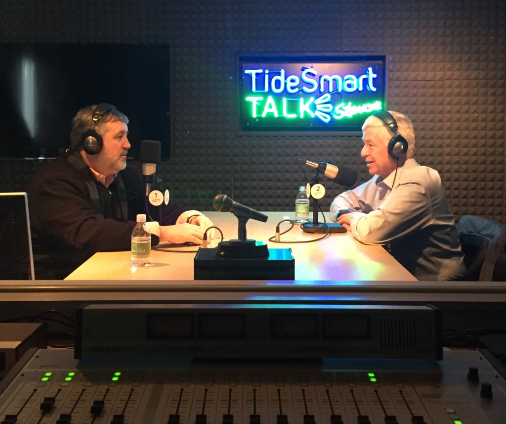 Host of TideSmart Talk with Stevoe, Steve Woods (left) welcomed former U.S. Congressman Mike Michaud (right) to the studio.
