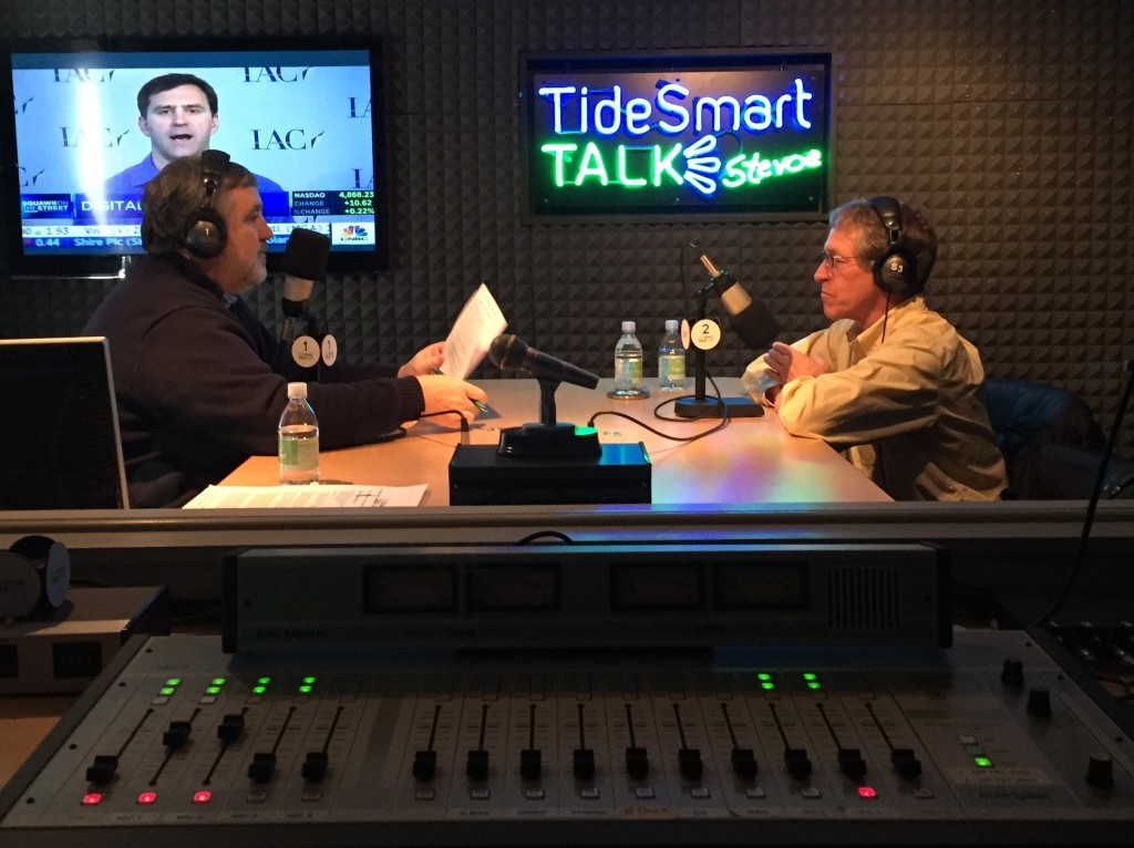 Host of TideSmart Talk with Stevoe, Steve Woods, recently welcomed Aqua Farms founder Toleff Olson (right).