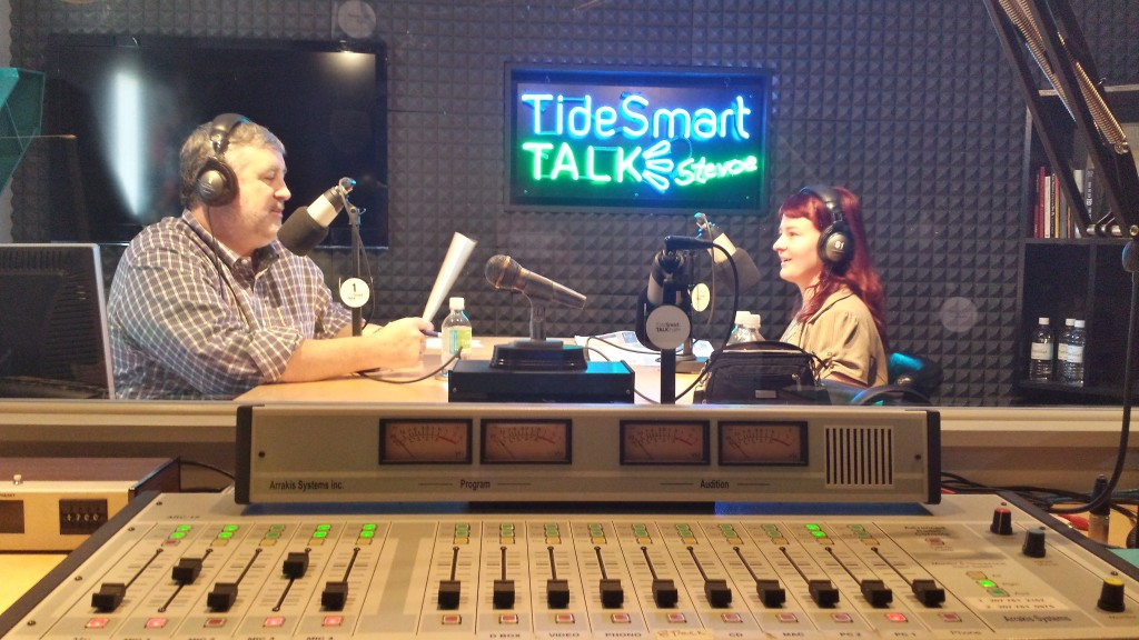 Host of TideSmart Talk with Stevoe, Steve Woods, welcomed Portland School Board Member, Holly Seeliger (at right).