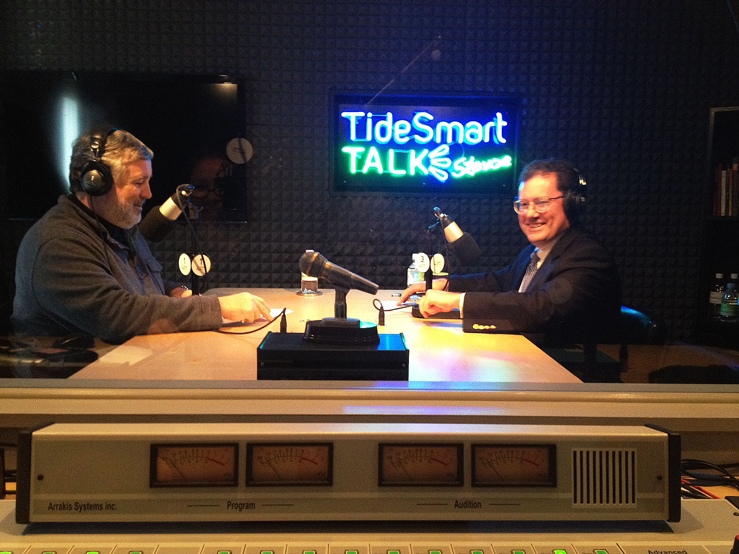 Host of TideSmart Talk with Stevoe, Steve Woods, welcomed Chairman of the ME PUC, Mark Vannoy (at right).