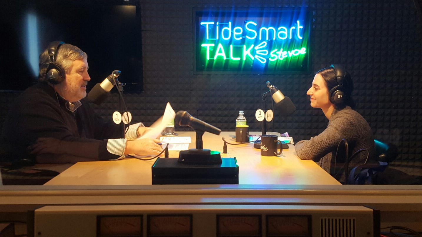 Host of TideSmart Talk with Stevoe, Steve Woods, welcomed Executive Director of the Portland Symphony Orchestra, Carolyn Nishon (at right).
