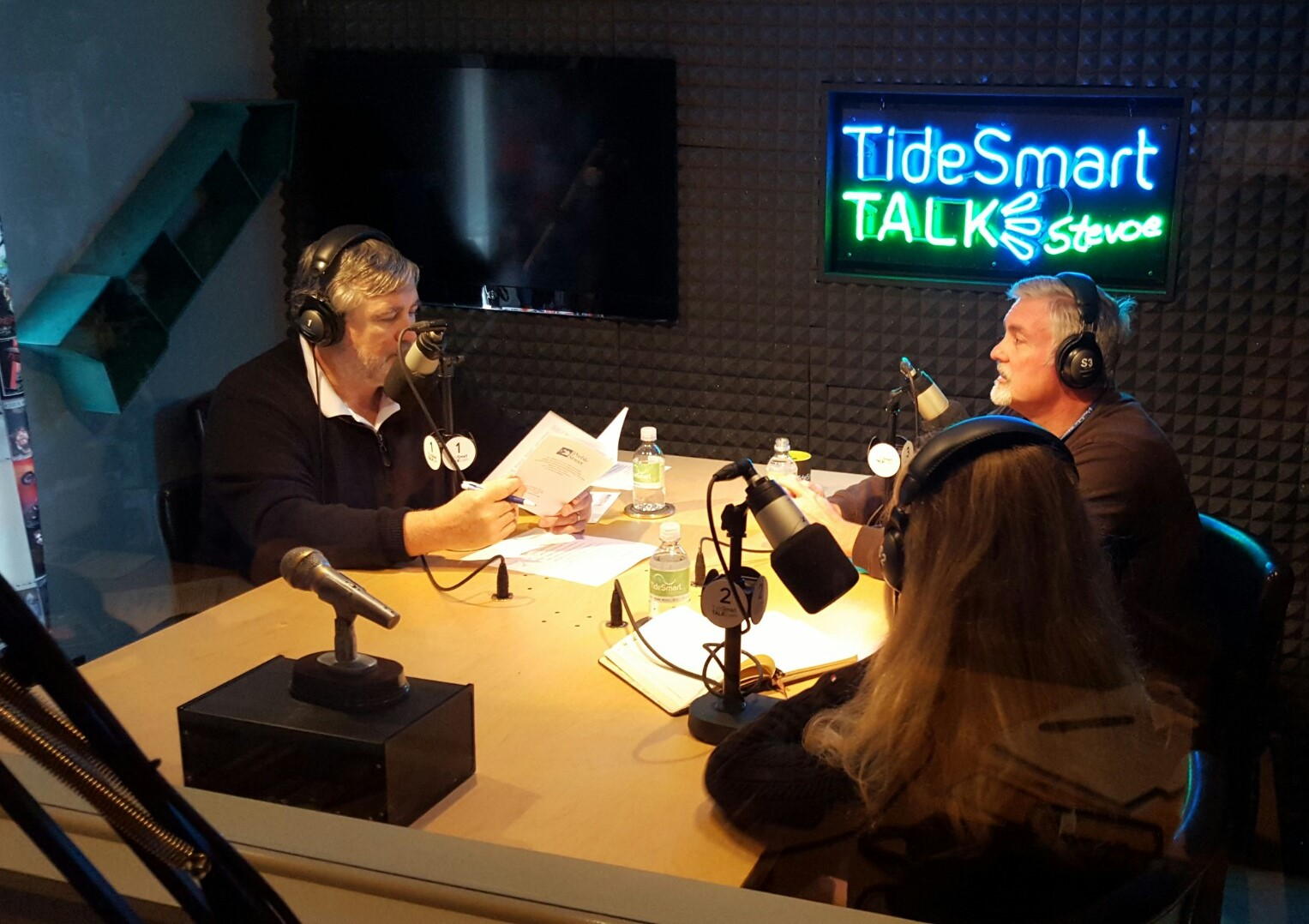 Host of TideSmart Talk with Stevoe, Steve Woods, welcomed Executive Director of Preble Street, Mark Swann (at right) with Valerie Hamilton of Promerica Health.