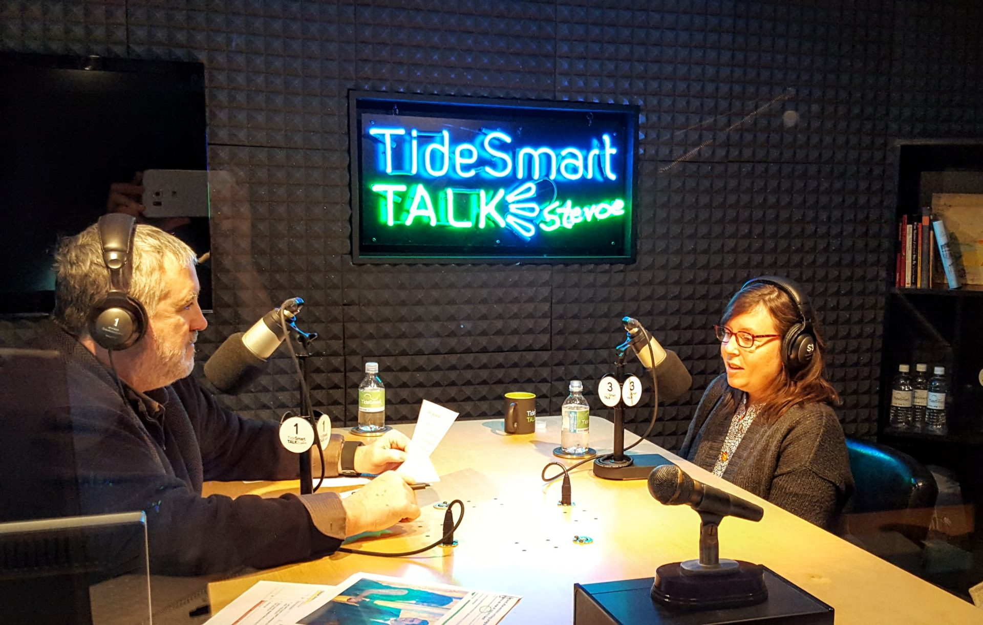 Host of TideSmart Talk with Stevoe, Steve Woods, welcomed the Executive Director of The Telling Room, Heather Davis (at right).