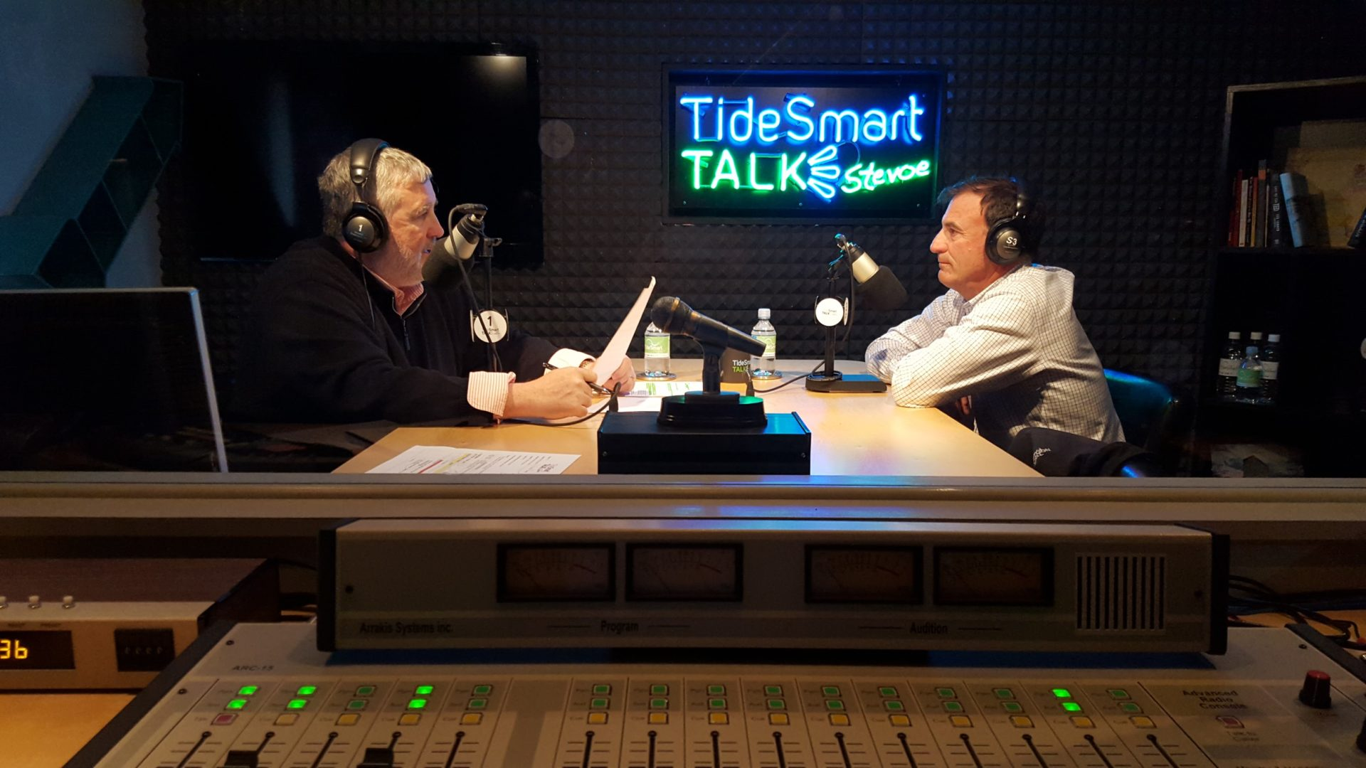 Host of TideSmart Talk with Stevoe, Steve Woods, welcomed Co-Founder of Cold River Vodka, Don Thibodeau (at right).