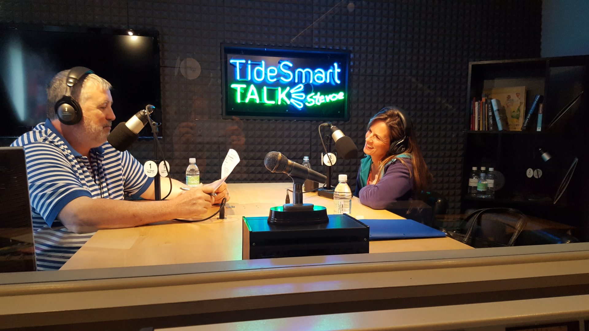 Host of TideSmart Talk with Stevoe, Steve Woods, welcomed Co-Founder of H.O.P.E. Counseling, Beth Andrews (at right).
