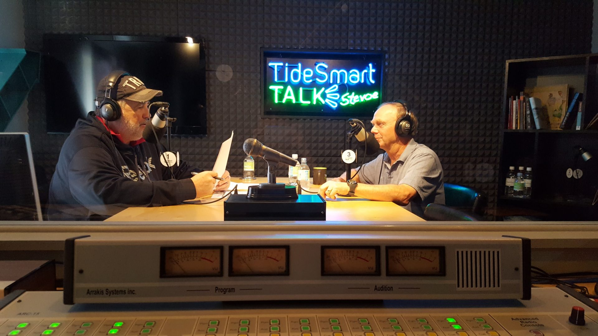 Host of TideSmart Talk with Stevoe, Steve Woods, welcomed President of Envision Maine, Alan Caron (at right).