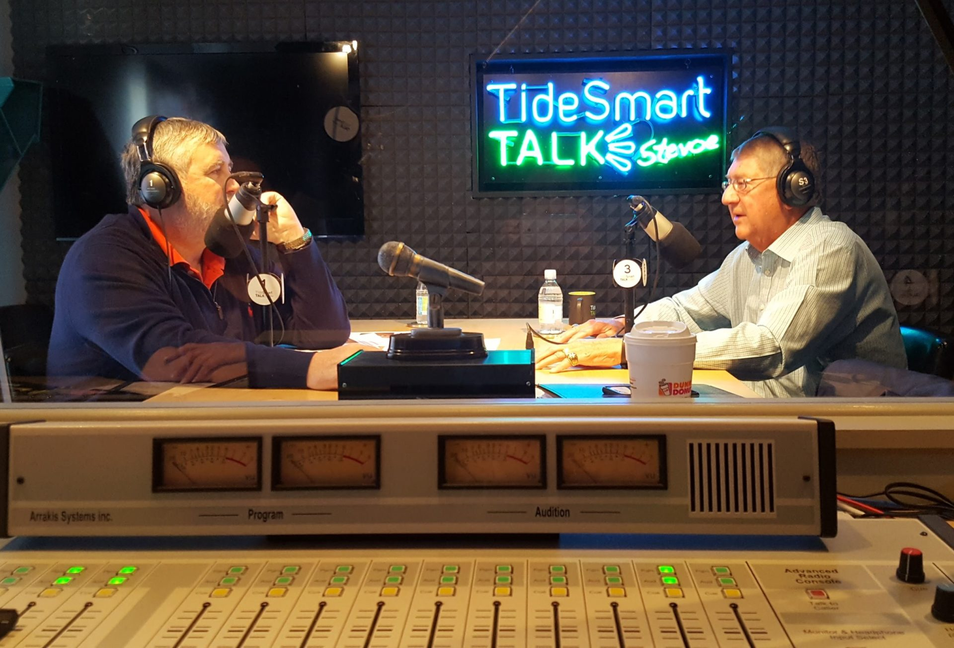 Host of TideSmart Talk with Stevoe, Steve Woods, welcomed Executive Director of the Maine Principals' Association, Dick Durost (at right).