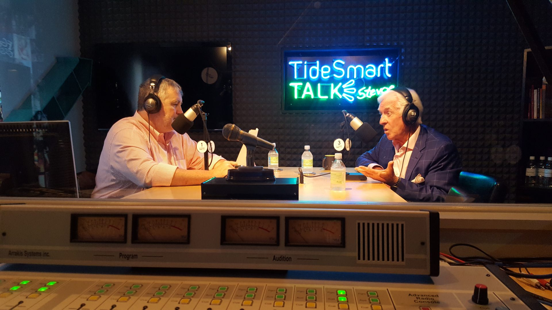 Host of TideSmart Talk with Stevoe, Steve Woods, welcomed the President of the Maine State Chamber of Commerce, Dana Connors (at right).