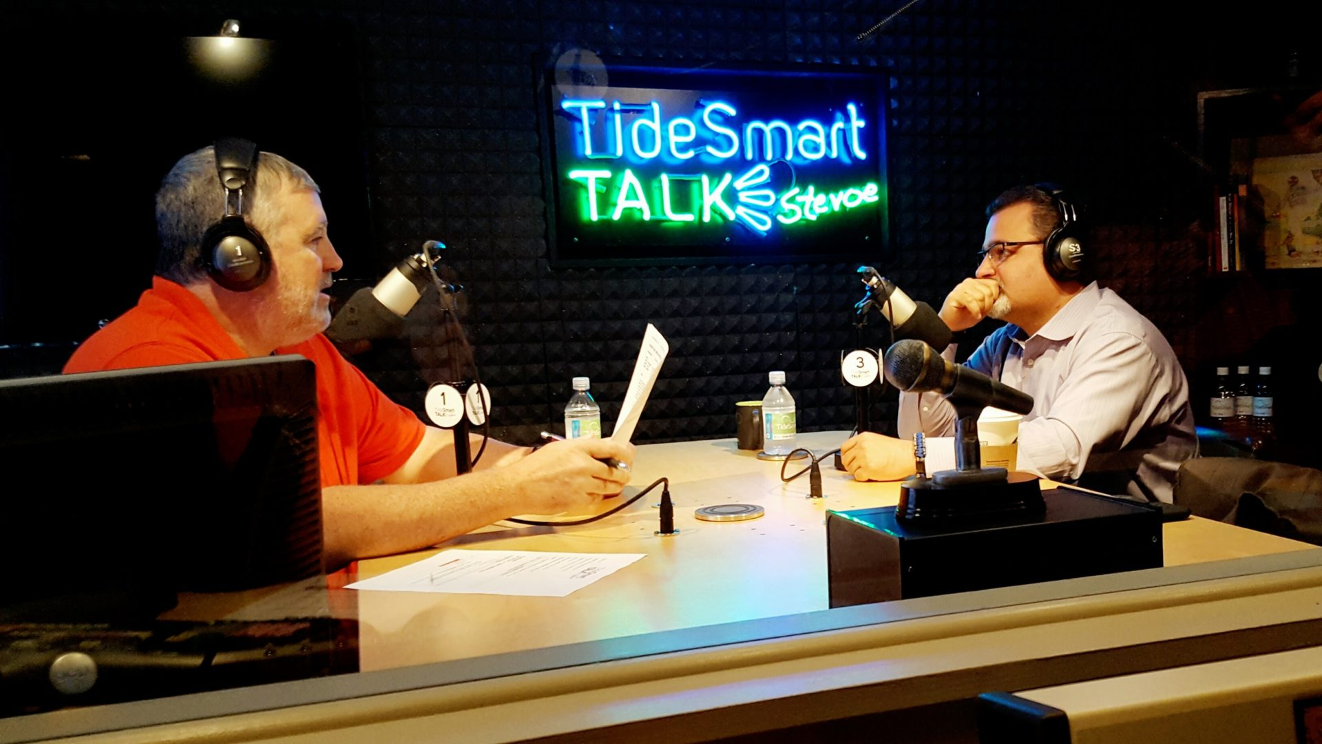 Host of TideSmart Talk with Stevoe, Steve Woods, welcomed Dr. Melik Peter Khoury, President of Unity College (at right).