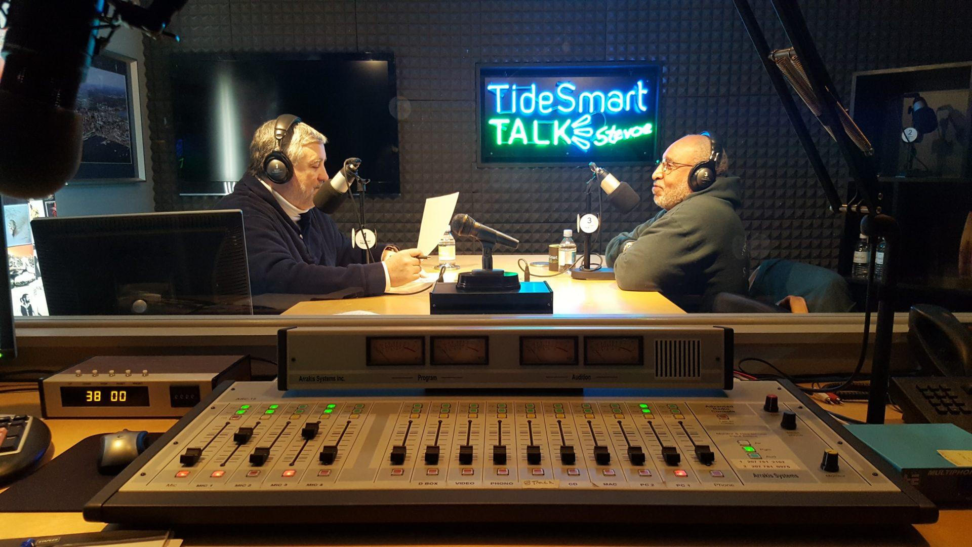 Host of TideSmart Talk with Stevoe, Steve Woods, welcomed Tim Wilson, Seeds of Peace Program Director (at right).