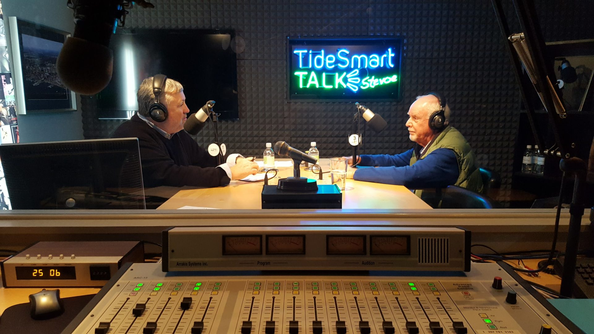 Host of TideSmart Talk with Stevoe, Steve Woods, welcomed the Executive Director of Habitat for Humanity Greater Portland, Godfrey Wood (at right).