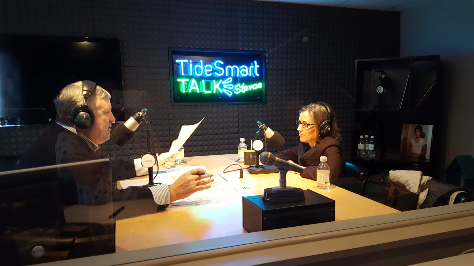 Host of TideSmart Talk with Stevoe, Steve Woods, welcomed Alison Beyea, Executive Director of the ACLU Maine (at right).